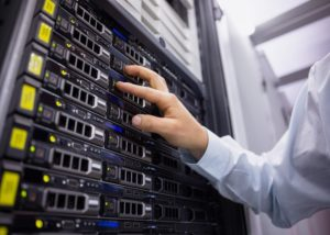 IT technician working on server